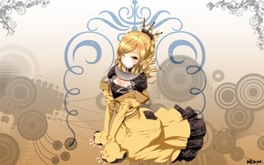 Picture girl, smile, dress, hairstyle, wink, ruffles, yellow, Ninpo
