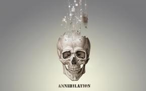 Picture particles, skull, grey, pixels, annihilation, annihilation