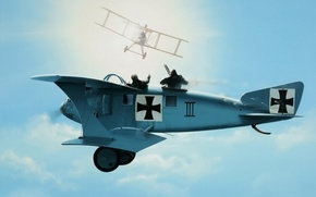 Picture art, painting, drawing, dogfight, ww1