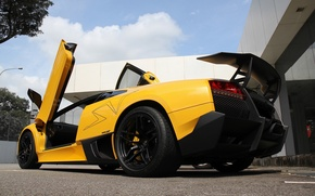 Picture the sky, clouds, yellow, lamborghini, yellow, murcielago, bottom view, Lamborghini, wing, Murcielago, lp670-4 sv