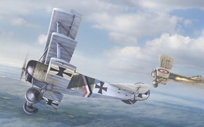 Wallpaper the sky, aviation, art, the British, the Germans, aircraft, dogfight, The first world war