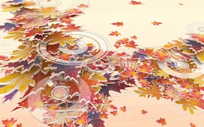 Picture autumn, circles, Leaves