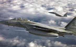 Picture art, Eagle, F-15, Douglas, McDonnell, roen911, American all-weather fighter of the fourth generation