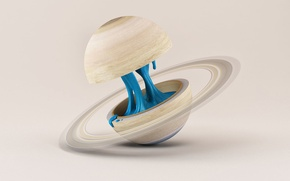 Picture space, background, planet, liquid, Saturn, art