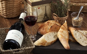 Picture wine, glass, bread, baguette