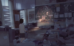 Picture girl, paper, room, chairs, anime, art, tables, lantern, Board, box, silent hill, snatti