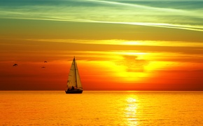Picture sea, sunset, yacht, sail, bright