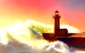 Picture lighthouse, painting, lighthouse