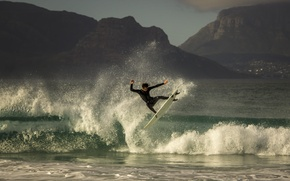 Picture sea, mountains, surfing, village, wave, surfboard, aereo