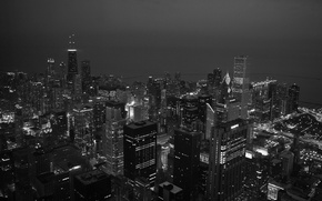 Wallpaper Black And White, Chicago, The evening