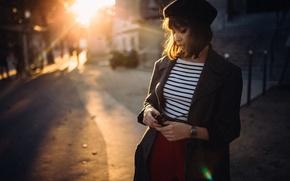 Picture girl, city, hat, haircut, portrait, glasses, t-shirt, light, Paris, brown hair, Blik, fashion, coat, France, …