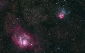 Picture glow, stars, Laguna, Tripartite, two very famous nebulae in the constellation Sagittarius