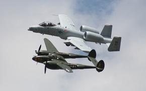 Picture the sky, flight, fighter, attack, Lightning, A-10, P-38, Thunderbolt II