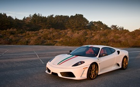 Picture shadow, the evening, white, ferrari, Ferrari, front view, the Scuderia, f430 scuderia