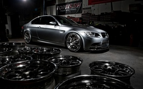 Picture bmw, BMW, wheels, drives, side view, e92, matte grey, grey matte