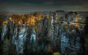 Picture autumn, mountains, bridge, nature, panorama