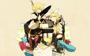 Picture girl, headphones, knife, cake, guy, vocaloid, bow, Kagamine Rin, Vocaloid, mess, Kagamine Len