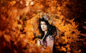 Picture autumn, gold, wreath, brown eyed girl, autumn portrait