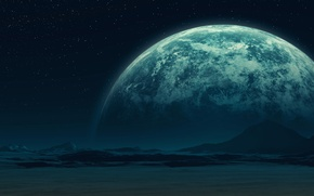 Picture stars, surface, mountains, planet, satellite