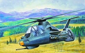 Picture war, art, helicopter, painting, RAH-66 Comanche