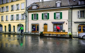 Picture rain, street, building, home, Switzerland, rain, Switzerland, street, Carouge, Carouge