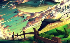 Picture greens, leaves, fish, fish, flight, emotions, fantasy, the fence, art, kit, guy, rays