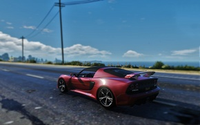 Picture road, sea, the sky, red, posts, day, Lotus, Requires, bokeh, GTA 5, 2016, V6 Cup