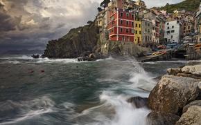 Picture stones, Cinque Terre, rocks, Riomaggiore, The Ligurian coast, sea, home, Italy