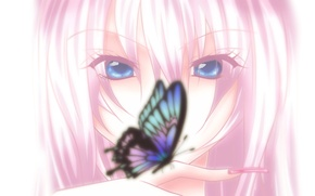 Picture look, light, butterfly, minimalism, Vocaloid, Megurine Luka