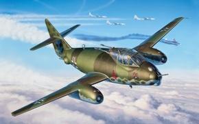 Picture war, art, painting, aviation, ww2, Messerschmitt Mep.1099 B