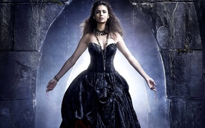 Picture girl, blood, hands, dress, actress, brunette, the series, Nina Dobrev, Nina Dobrev, The Vampire Diaries, …