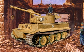 Picture war, art, painting, tank, ww2, armored vehicule, Mountain tiger