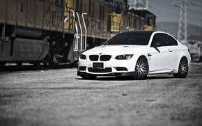 Picture white, bmw, BMW, train, white, train, e92, power line