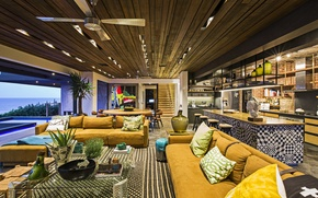 Wallpaper design, furniture, pool, Interior