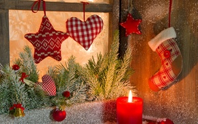 Picture winter, balls, snow, branches, heart, toys, star, candle, spruce, New Year, window, Christmas, the scenery, …