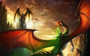 Picture dragons, magic, art, MAG, Alanya, rider, staff, rocks