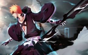 Picture weapons, magic, blood, smoke, guy, Bleach, Bleach, Kurosaki Ichigo, art, wounds, IFrAgMenTIx