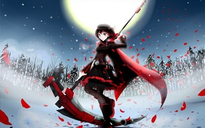 Picture winter, girl, snow, trees, weapons, the moon, tree, anime, petals, art, braid, cloak, ssgt-lulz, ruby, ...