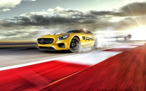 Picture Mercedes-Benz, Race, AMG, Yellow, Smoke, Track, Drifting, GT S