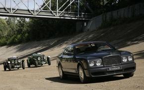 Wallpaper Bentley, Brooklands, Retro, Bridge, Race