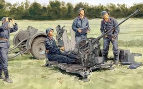 Picture figure, art, The second world war, Luftwaffe, The third Reich, German 20-mm anti-aircraft gun, - …