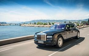 Picture The sky, Water, Black, Phantom, The hood, Sedan, Rolls Royce, The front, Extended, Wheelbase, Wide