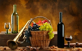 Picture wine, red, white, basket, pipe, grapes, nuts