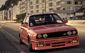 Picture street, BMW, BMW, red, red, E30