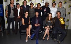 Picture Robert Downey Jr, Chris Evans, Mark Ruffalo, Aaron Taylor-Johnson, Elizabeth Olsen, Cobie Smulders, Avengers:Age of …