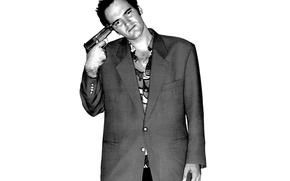 Picture look, gun, background, actor, Quentin Tarantino, Quentin Tarantino, Director