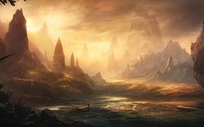Picture water, landscape, sunset, castle, rocks, people, valley, art, fortress, traveler
