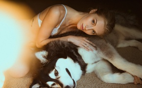 Picture girl, dog, husky
