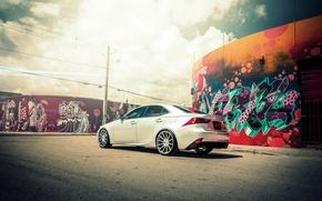 Picture Lexus, wheels, black, metallic, Lexus, graffiti, vossen, IS250