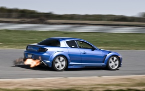 Picture blue, flame, tuning, speed, mazda, rx-8